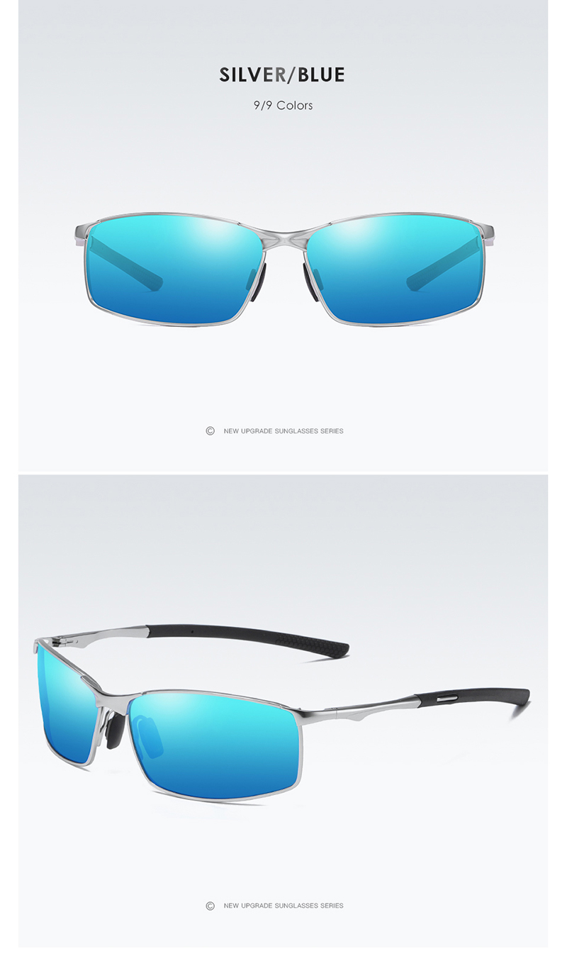 Aoron Silver and Blue Polarized Sunglasses for men and women