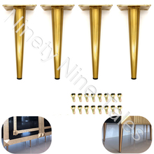 4Pcs Furniture Cabinet Metal Legs Kitchen tall Sleek Tapered Leg, Brushed Nickel Finish, Set of Four Legs