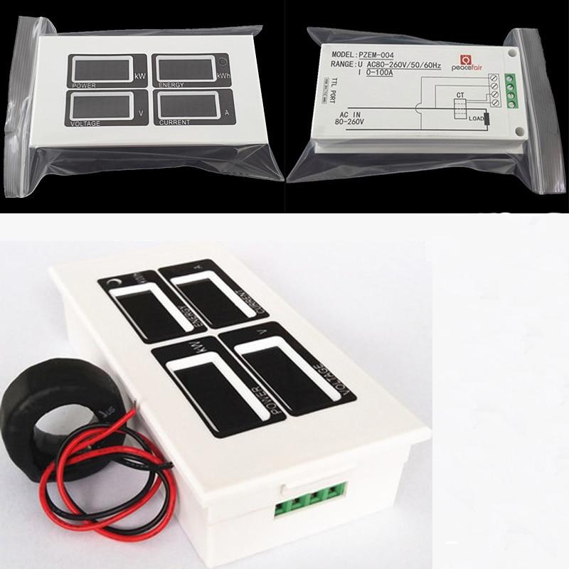 все цены на AC 110V 220V Digital 100A watt power meter volt amp Ammeter Voltmeter 80-260V with CT coil онлайн