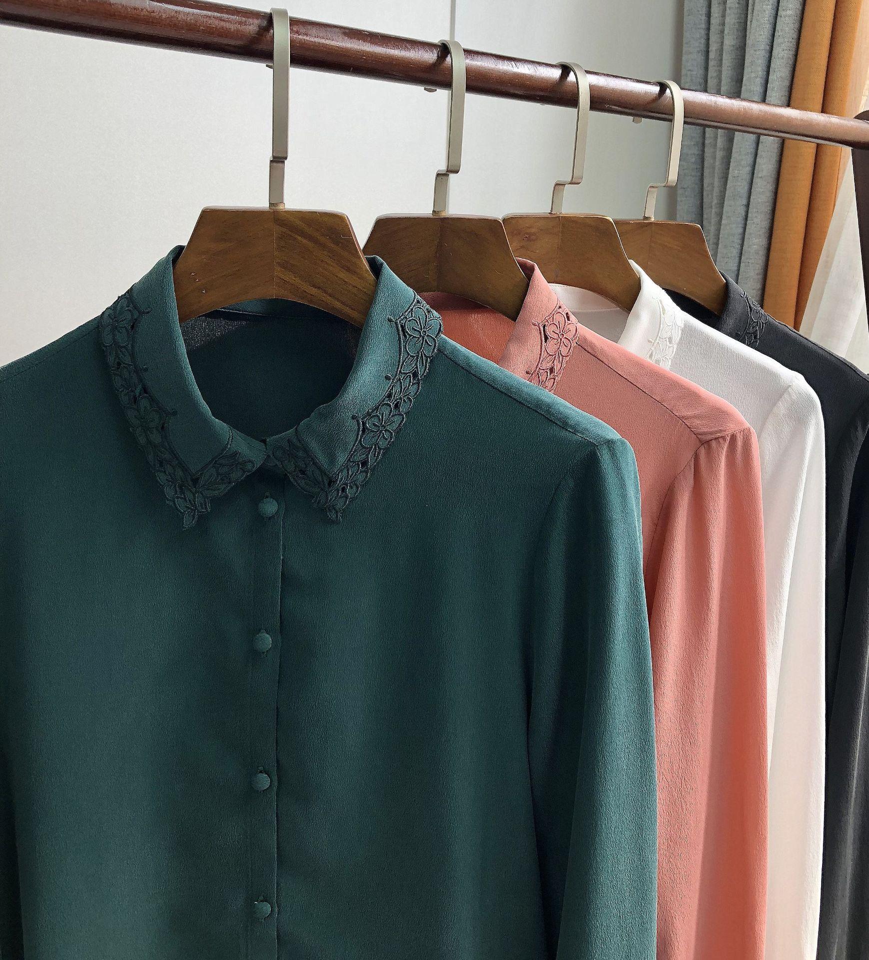 여성 셔츠 2019 이른 봄 복고풍 우아한 섬세한 수 놓은 openwork 자수 실크 긴팔 셔츠-에서블라우스 & 셔츠부터 여성 의류 의  그룹 2