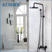 KEMAIDI Bathroom Waterfall Faucets Shower Faucet Set Wall Mounted Rainfall Shower Faucet With Hand Shower Wall Mounted Sets
