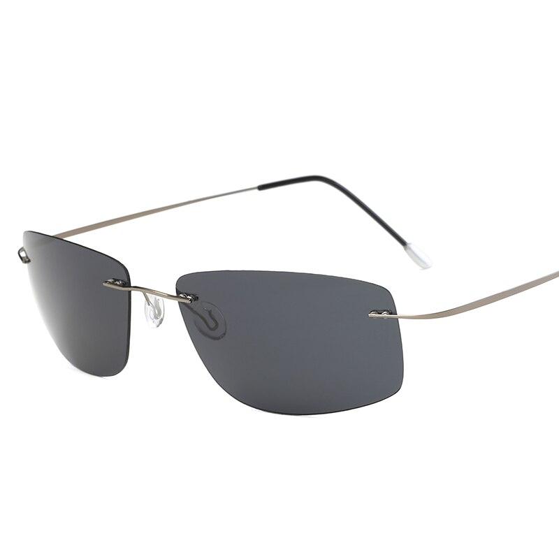 Titanium Polarized Sunglasses Square Rimless Polaroid Brand Designer Gafas Men Square Sun Glasses Sunglasses For Men Women