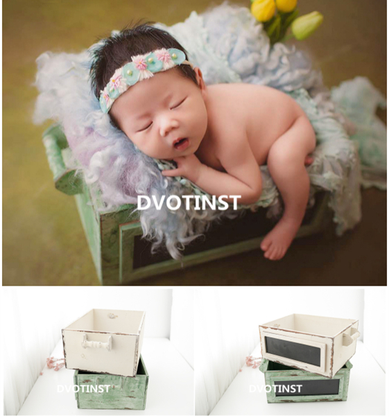 Dvotinst Newborn Photography Props for Baby Wooden Posing Basket Poser Drawer Tub Fotografia Accessories Studio Shoot Photo Prop цена
