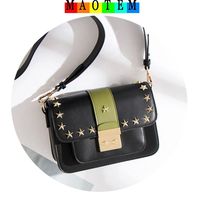 MAOTEM Mulheres Pequenos Sacos Do Mensageiro, de Alta Qualidade Saco Crossbody Rebite Pentagrama, Popular e Famoso Designer Flap Bag Para O Sexo Feminino