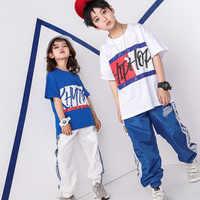 Letnie dzieci Hip Hop ubrania do tańca towarzyskiego dla dziewczynek chłopcy bluza krótki T Shirt topy spodnie do biegania Jazz stroje taneczne