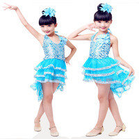Children Modern Dance Dress Paillette Kid Latin Dance Dress Sequins Stage Dance Skirt Performance Serve