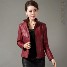 Free shipping !!! Women's 2016 spring and autumn Senior washed leather leather jacket plus size clothing short jacket / L-5XL