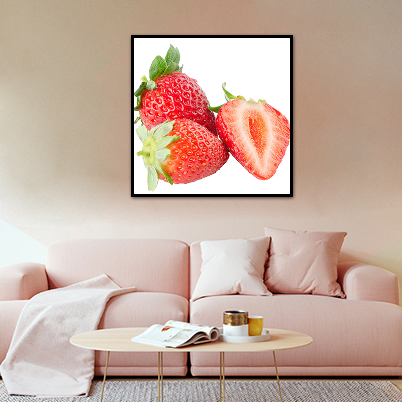 Ripe Strawberry Fruit Embroidery Painting Cross Stitch Full Round Diamond Wall Decor Needlework Full Drills Home Handmade Craft
