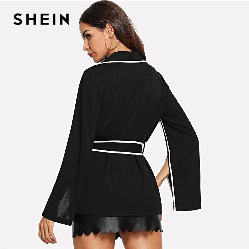 Shein Office Lady Elegant Slit Sleeve White Striped Notched Belted Workwear Blazer Autumn Women Highstreet Coat Outerwear #3