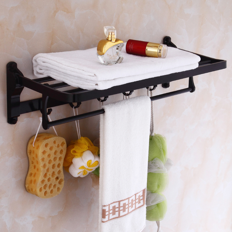 Black Space Aluminum Foldable Bath Towel Rack Bathroom Towel Holder Double Towel Shelf with Hooks Bathroom Accessories Sj12 футболка рингер printio день победы 9 мая перьм