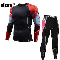 Aismz Для мужчин бренд комплект из 2 предметов спортивный костюм Для мужчин ММА rashguard union костюм сжатия Moletom Masculino мышечной человек базовый слой