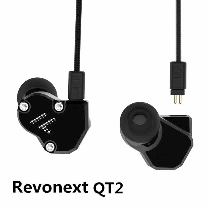 Revonext QT2 2DD+1BA Hybrid In Ear Earphone HIFI DJ Monito Running Sport Earphone Earplug Headset Earbud Yinyoo yinyoo revonext qt3 2dd 2ba hybrid ear hook earphone cnc metal headphone stereo bass headset earbud replaceable cable with mic