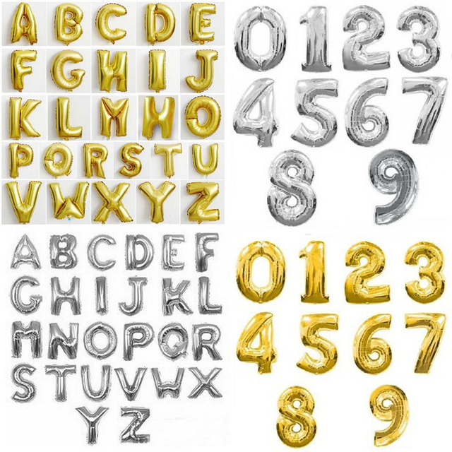 Lucky 1pcs 16inch Number Alphabet Letter A-Z Foil Baloons Aluminum Balloon Cute Silver/Gold 0-9 Balloon Party Decoration Globos