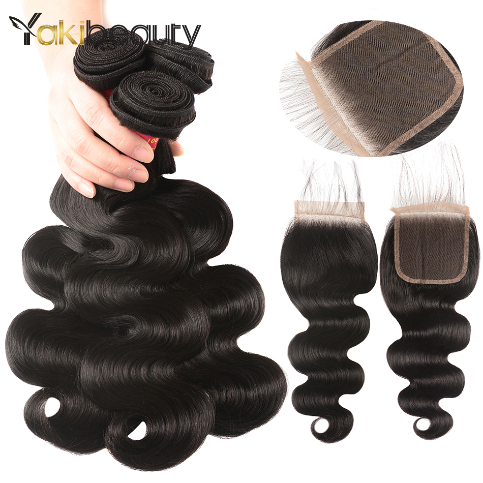 Yakibeauty Human Hair Body Wave Bundles With Closure Raw Indian Hair 3 Bundles With Clos ...