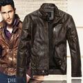 Kenntrice otoño invierno chaquetas de cuero de la marca de los hombres jaqueta couro masculino bombardero chaqueta de cuero de piel de oveja chaqueta de la motocicleta escudo