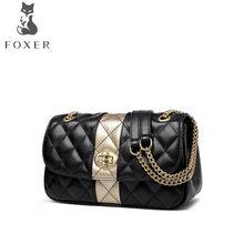 b874b6543415 FOXER брендовые сумки для женщин 2019 Новая женская кожаная сумка Роскошные  сумки дизайнерские Lingge Модные женские кожаные сум.