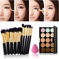 15 Colors Concealer Palette+Makeup Foundation Sponge+ 10Pcs Mini Pro Makeup Brush Make Up Set Best Price