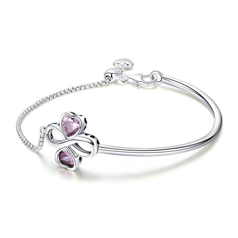925 Sterling Argent Élégant Trèfle Amour Rose CZ Bracelets & Bangles pour les Femmes D'origine En Argent Sterling Bijoux SCB092 BAMOER