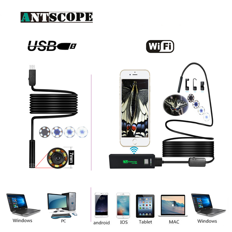 Antscope Wifi 8mm Endoscope 2/3.5/5/10m Waterproof Borescope 1200p Android Ios 7mm Softwire Usb Inspection Endoscope Camera 19 Always Buy Good