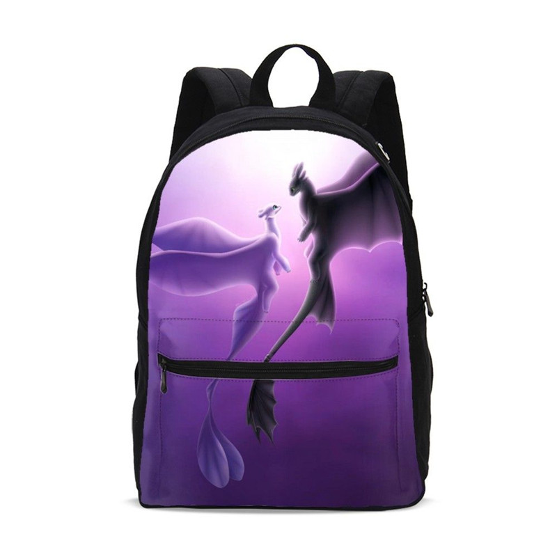 Canvas Backpack For Women Men Fashion Cartoon How To Train Your Dragon 3 Printed Bookbag Travel