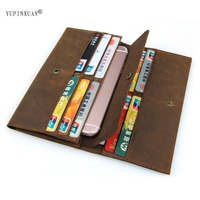 YUPINXUAN Solid Color Genuine Leather Man Wallet Vintage Cow Leather Wallets Long Model Large Capacity Purse