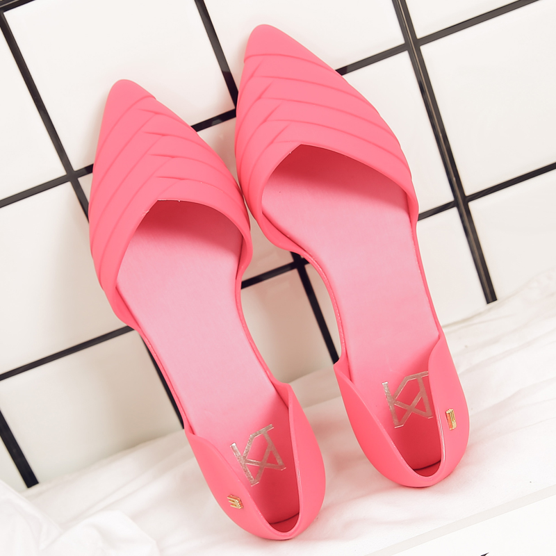2018 women sandals pointed toe loafers jelly shoes soft summer woemn shoes slip-on waterproof beach shoes platform women flats
