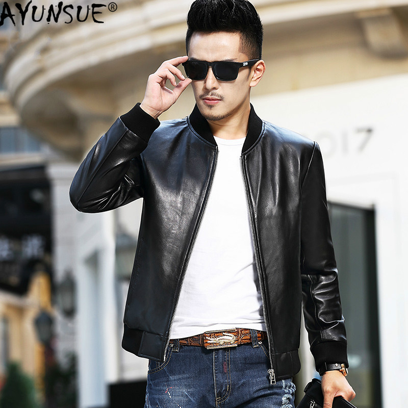 AYUSNUE Men's Leather Jacket Short Genuine Sheepskin Leather Coat For Men Spring Autumn Bomber Jacket Veste Cuir Homme L16009