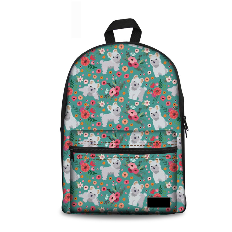 Noisydesigns School Bags Teenager Girls Maltese Flower Korean Pop Schoolbags Kids Book Bags Womens Satchel Mochilas Infantiles