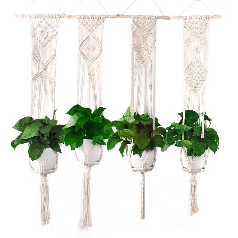 Cintre de plante intérieur tenture murale jardinière panier macramé Jute corde Boho Hipinpie décor à la maison fait à la main tissé à la main pot de fleur