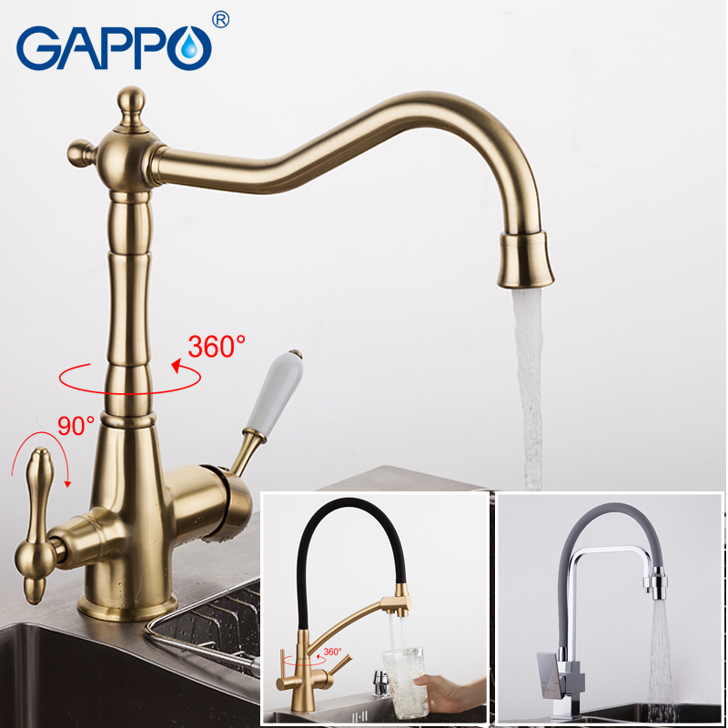 GAPPO kitchen faucet antique brass kitchen filter taps faucets drinking water mixers tap water purified faucet