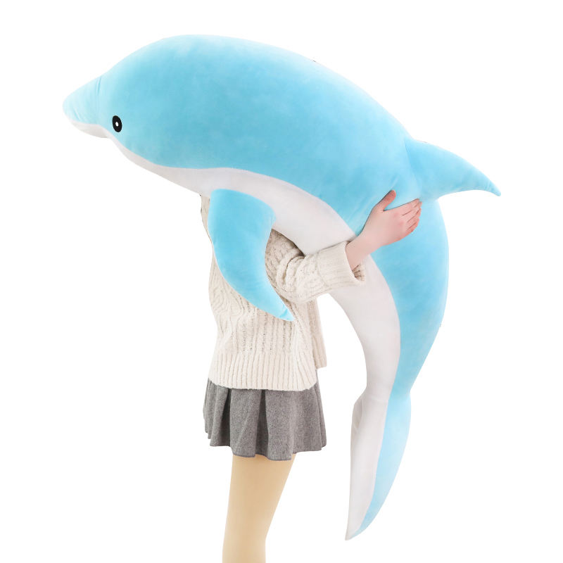 30-120cm Kawaii Soft Dolphin Plush Toys Dolls Stuffed Down Cotton Animal Nap Pillow Creative Kids Toy Christmas Gift for Girls