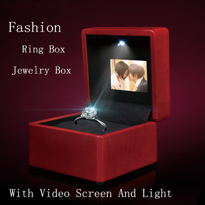 High Quanlity Video And Light Wooden LED Screen Ring Box Jewelry Box Red Music Box Can Play Video And Pictures B098 ebaycoco jewelry women box red 20 bit box red light double drawer ladies makeup box for watch accessories and other items