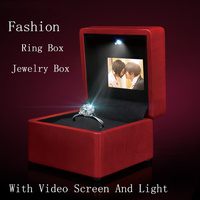 High Quanlity Video And Light Wooden LED Screen Ring Box Jewelry Box Red Music Box Can Play Video And Pictures B098