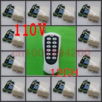 110V Remote Relay Control Switch 12CH Receiver&12Button Transmitter Lamp/Light LED Remote ON OFF Controller System Output Adjust