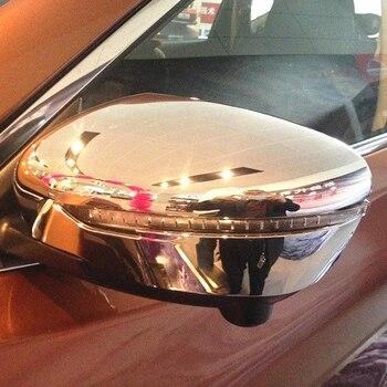 Protectores de cubierta de espejo retrovisor lateral para Nissan Qashqai J11 Dualis 2014 2015 2016 2017 ABS, de fibra cromada para exteriores de coche