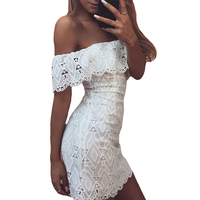 Slash Neck Mini Lace Dress Women Hollow Out Elegant White Dress Summer Short Sleeve Bodycon Office