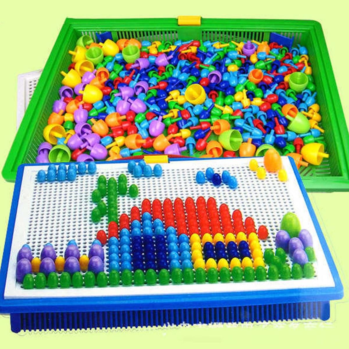 Creative Peg Board With 296 Pegs Model Building Kits Building Toy Intelligence For Kids S7JN