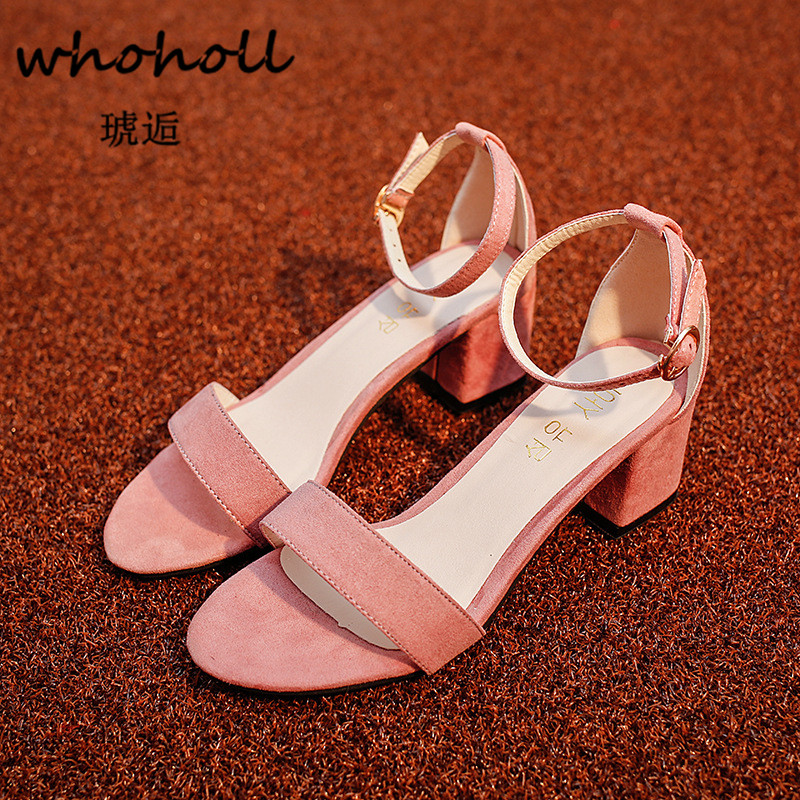 Whoholl Brand 2018 Summer Women Sandals Open Toe Flip Flops Womens Sandles Thick Heel Women Shoes Korean Style Gladiator Shoes