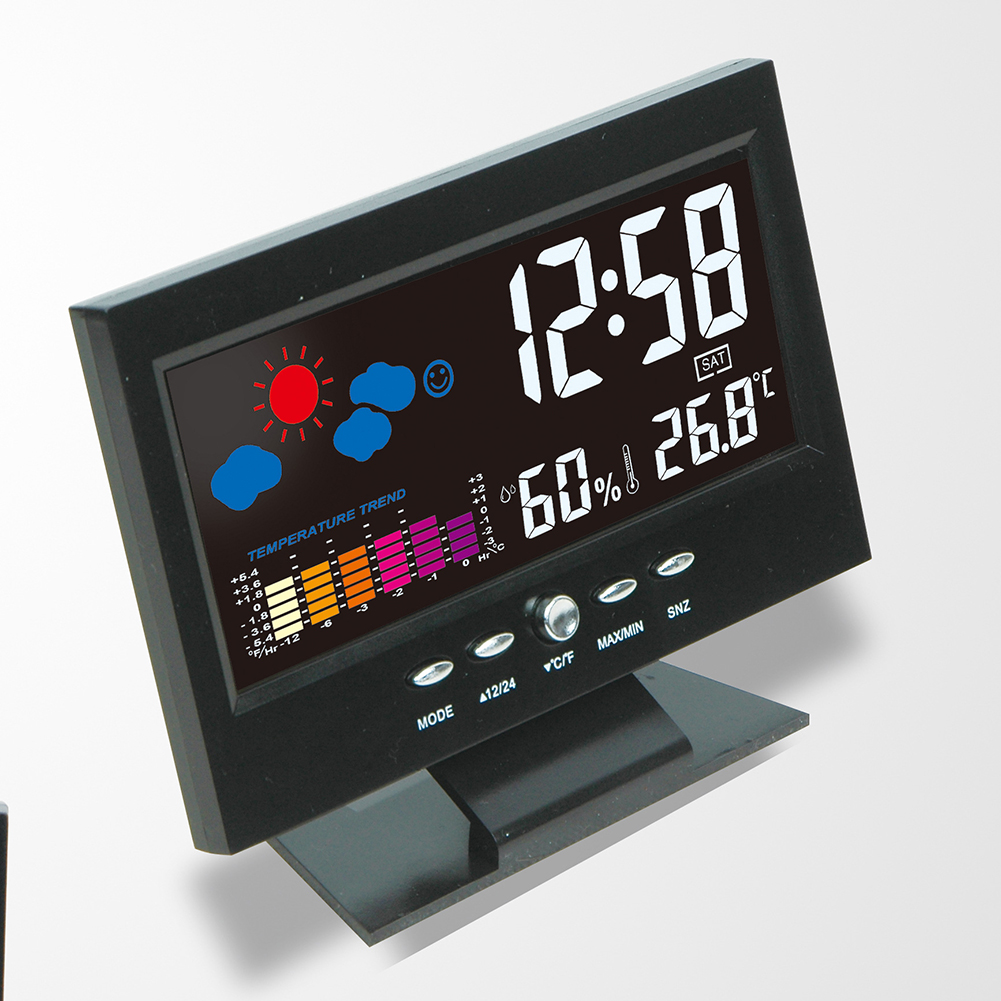 Colorful LCD Calendar Digital Thermometer Hygrometer Weather Station Alarm Clock Voice Control Backlight weather station digital lcd temperature humidity meter
