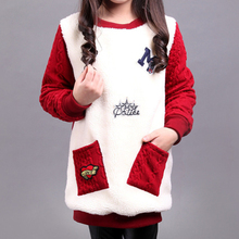 New Winter Sweater for Girls Cotton Print Letters Kids Children Sweaters Girls Plus Velvet Warm Knitted Clothes Sudaderas 3-14Y