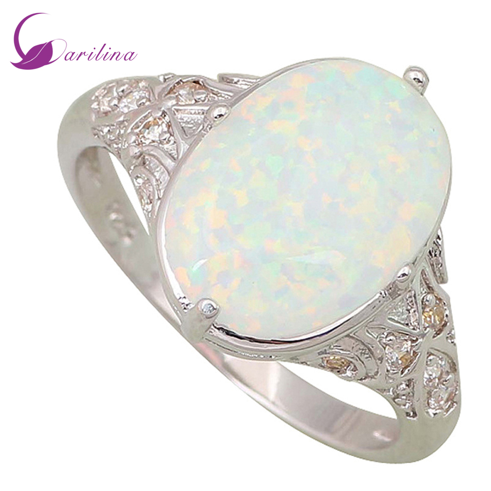 Garilina Fine smykker Dame ringer White Fire Opal 925 Sterling Silver Wedding Party Gaver ring Engros R106