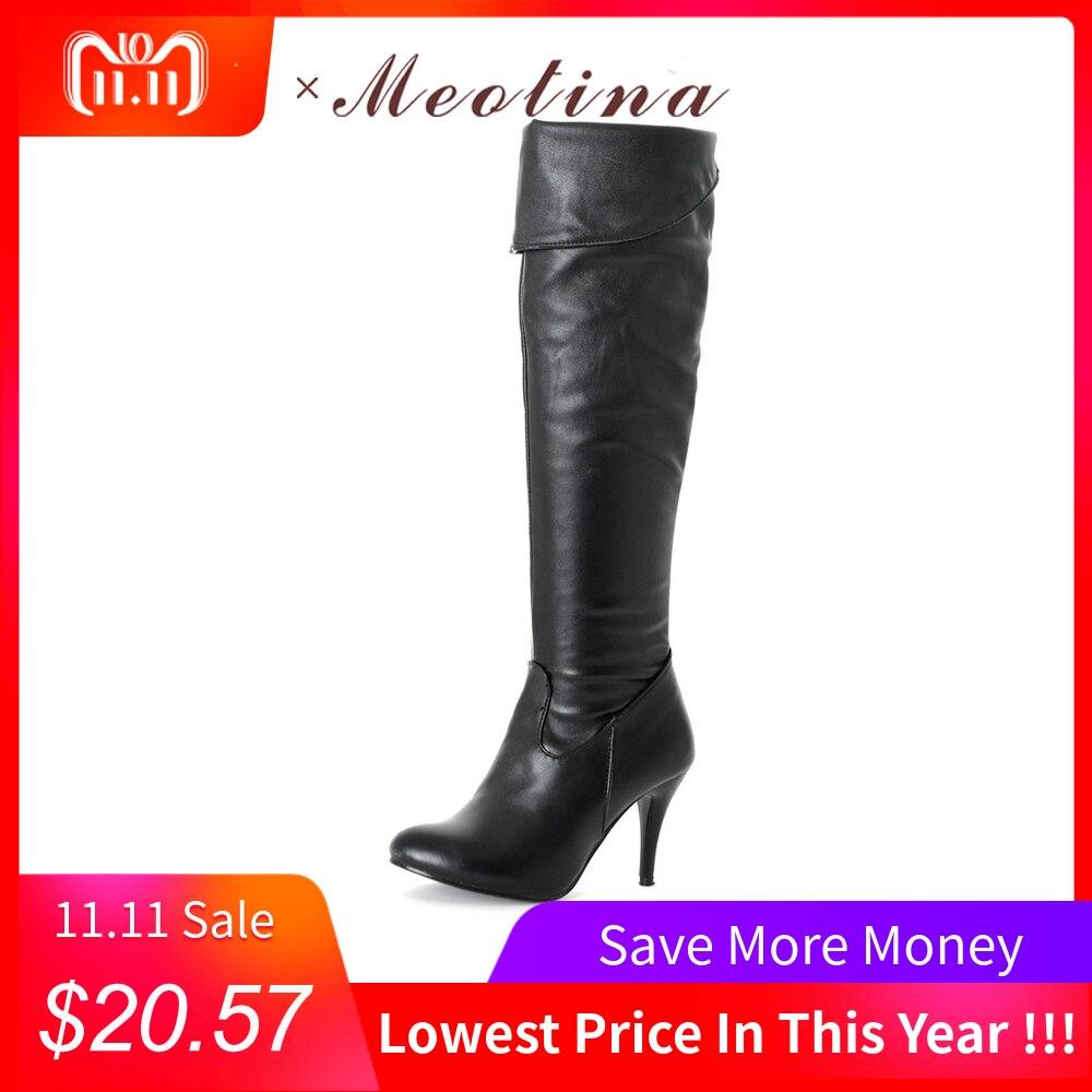 699c0de8d25 Meotina Women Boots High Heels Thigh High Boots Winter Sexy Over Knee Boots  Ladies Autumn Shoes