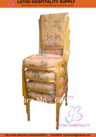 Gold Aluminum Banquet Chair Comfortable Mould Seat With High Density Wholesale Fast Delivery