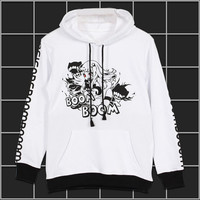 Anime Collection Cute Girl Printed Men Women Boys Pullover Swet shirt Hoodie Winter Cotton Warm Cosplay Long Sleeve Black White