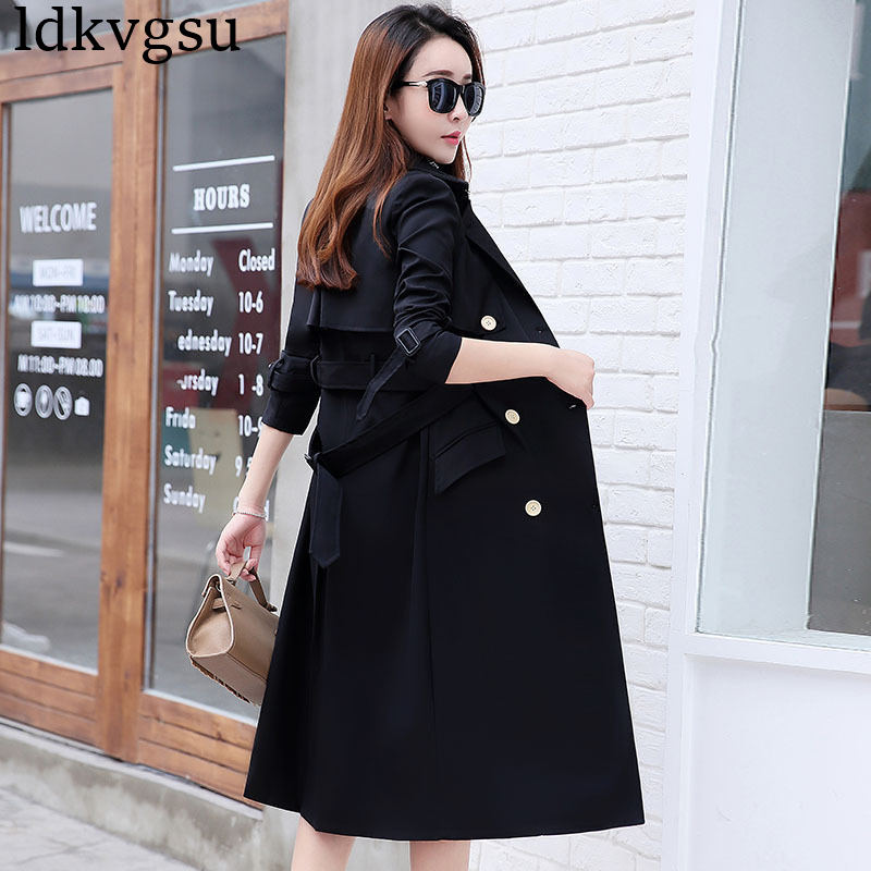 NEW Fashion 2018 Plus Size Women Spring Autumn   Trench   Coats Slim Maxi Long Coat Winter Female Outerwear Black abrigos mujer A795