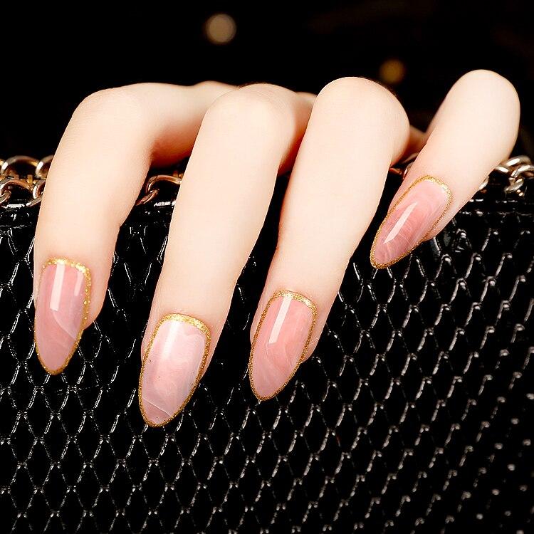 Hot Selling 24pcs/set Pink Stone Texture Sllipse Shape Short Fake ...