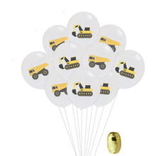 10Pcs Construction Vehicle Excavator Theme Car Latex Balloon Confetti Balloons Kids Birthday Decoration Party Supplies