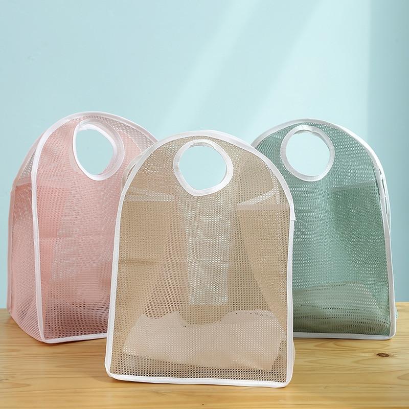 New Women Shopping Bag Folding Portable Multifunction Reusable Tote basket  Mesh Hand Bag Organizers Bag