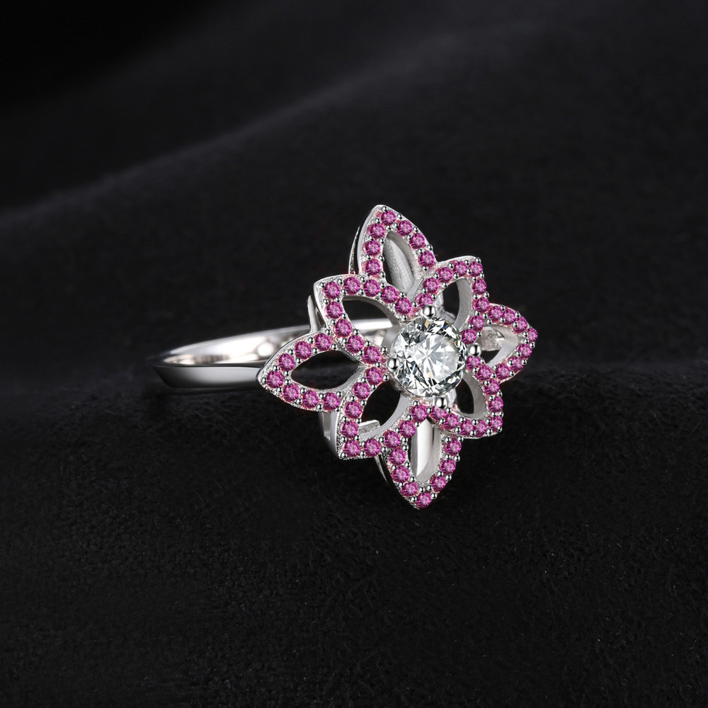 Jewelrypalace Brand 077 Ct Created Pink Sapphire Cz Flower Ring 925