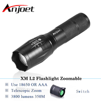 Anjoet Powerful LED Flashlight XML T6 XM-L2 Lantern Rechargeable Zoomable Waterproof AAA OR 18650 Battery Lamp Hand Light Torch